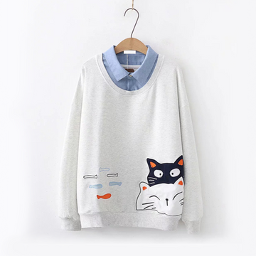 Modakawa Sweatshirt Light Gray Cat Fish Fake Two-Piece Sweatshirt