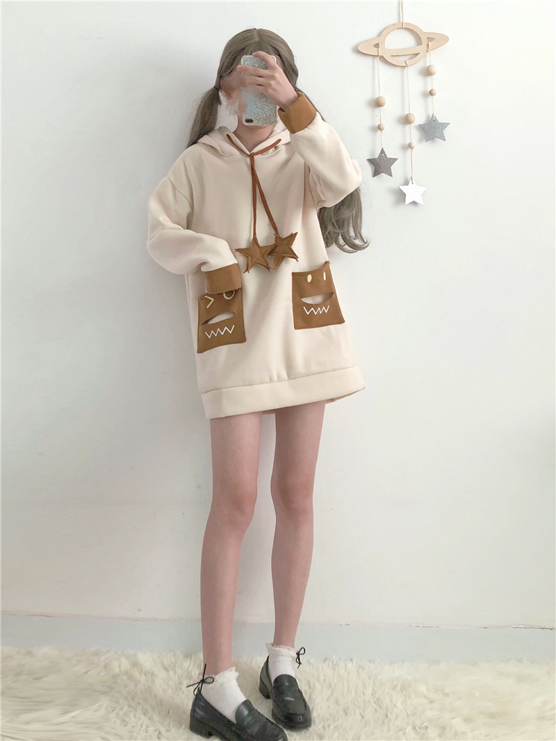 Modakawa Sweatshirt Little Monster Star Pendant Hoodie
