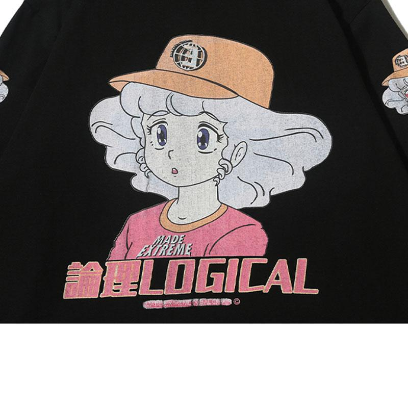 Modakawa Sweatshirt LOGICAL Cartoon Girl Print Oversized Sweatshirt