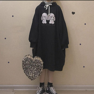 Modakawa Sweatshirt LOOK AT MY DOLL Letter Print Oversized Long Hoodie