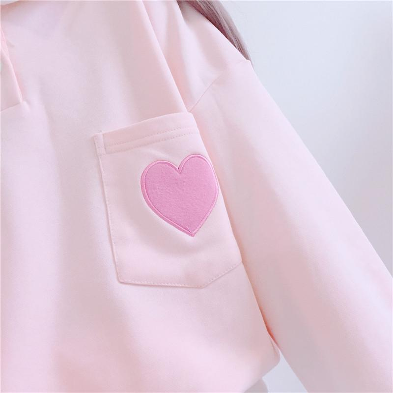 Modakawa Sweatshirt Love Heart Embroidery Sweatshirt