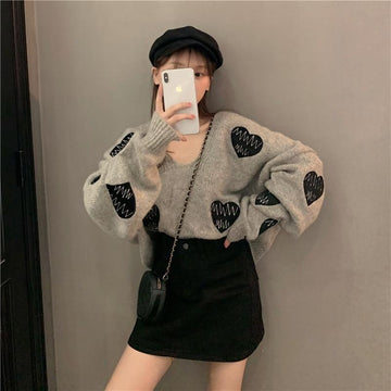 Modakawa Sweatshirt Love Heart Embroidery V Neck Loose Sweater