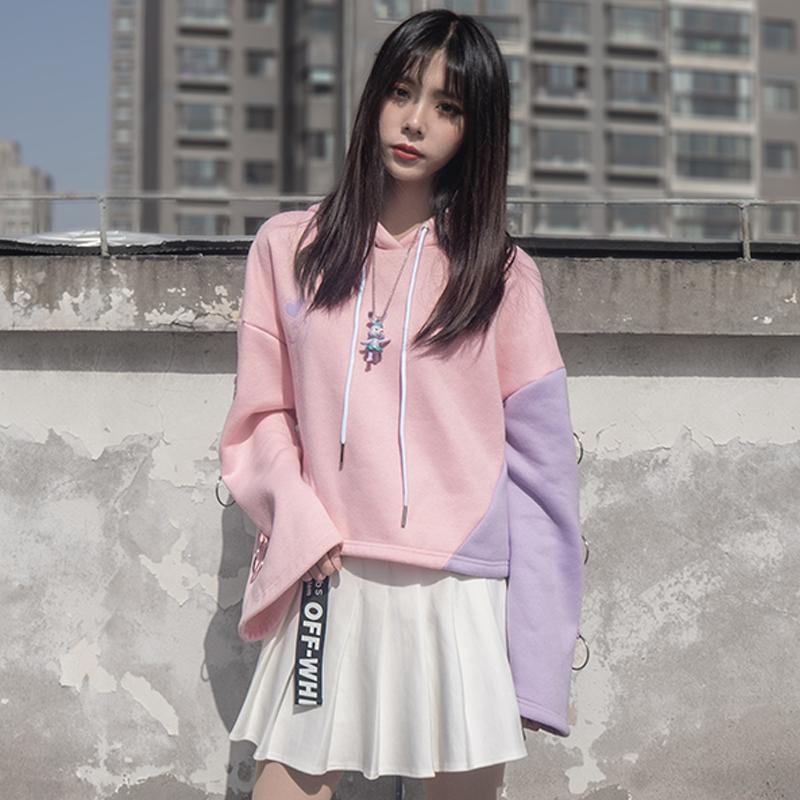 Modakawa Sweatshirt Love Heart Print Color Block Hoodie Pleated Skirt Set