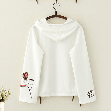 Modakawa Sweatshirt Lucky Cat Bow Lace Hoodie