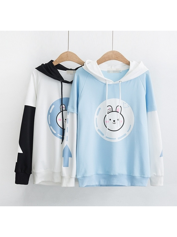 Modakawa Sweatshirt M / White Cute Rabbit Print Loose Hoodie