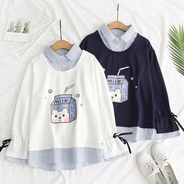 Modakawa Sweatshirt Milk Box Print Stripe Fake Two-Piece Sweatshirt