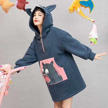 Modakawa Sweatshirt Monster Print Pocket Zipper Ears Hoodie