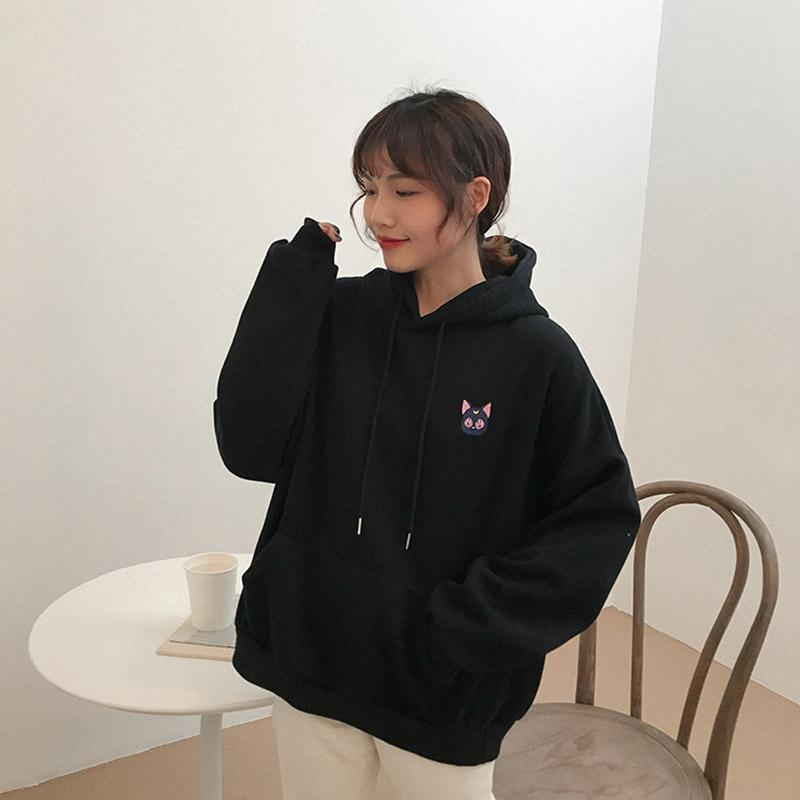 Modakawa Sweatshirt Moon Little Cat Embroidery Hoodie