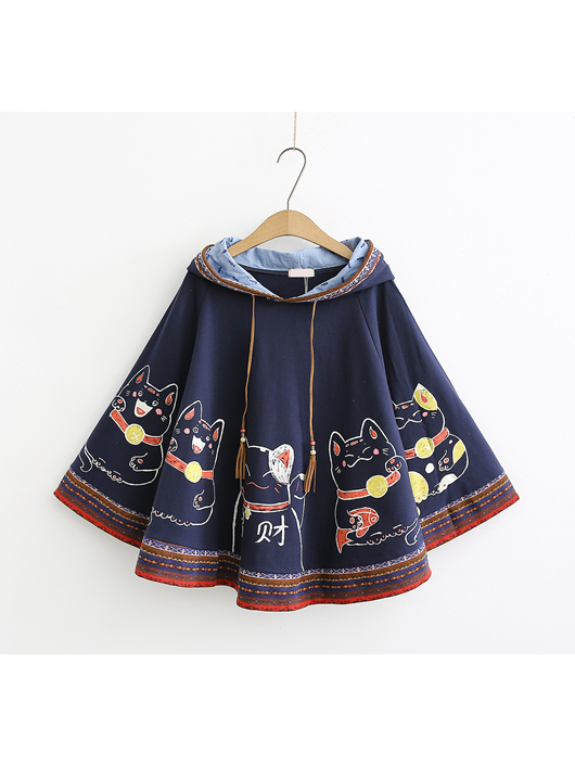 Modakawa Sweatshirt Navy Blue Fortune Cat Bat Sleeve Cloak