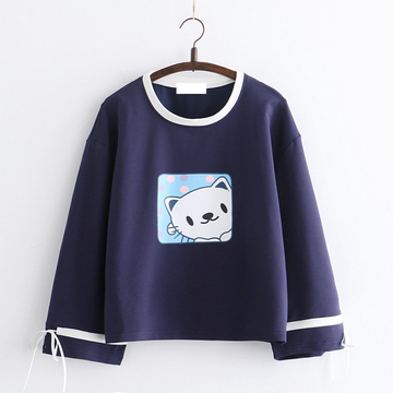 Modakawa Sweatshirt Navy Cat Print Bowknot Sleeves Sweatshirt