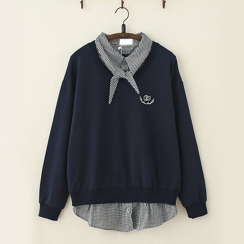Modakawa Sweatshirt Navy Fish Embroidery Plaid One-Piece Sweatshirt