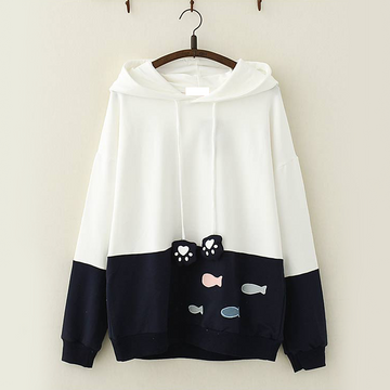 Modakawa Sweatshirt Navy Kawaii Fish Cat Claw Hoodie