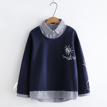 Modakawa Sweatshirt Navy / M Sunshine Embroidery Bowknot Sleeves One-Piece Sweatshirt
