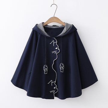 Modakawa Sweatshirt Navy / One Size Fishes Cat Embroidery Plaid Cloak