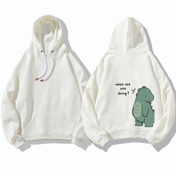 Modakawa Sweatshirt Normal / White A / M Girlfriend Boyfriend Dinosaur Print Sweatshirt Hoodie