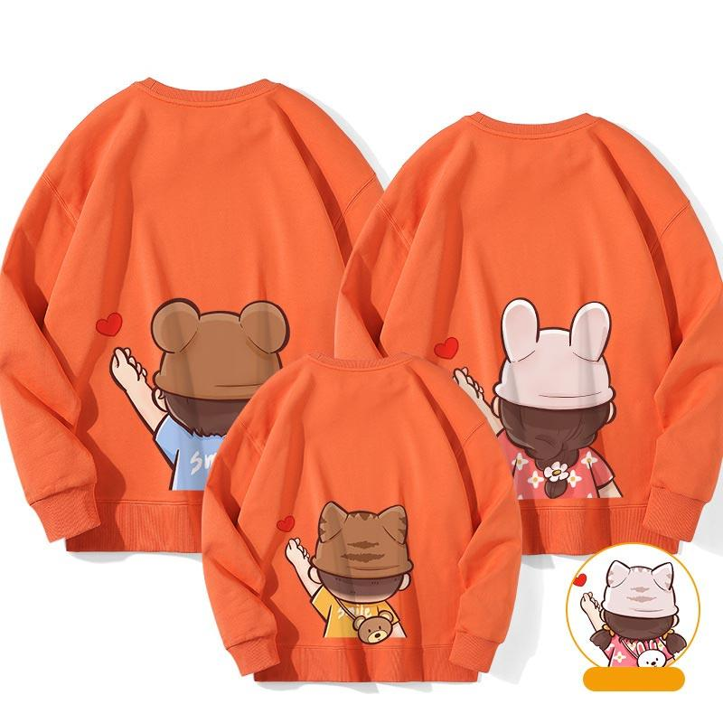 Modakawa Sweatshirt Orange / Boy: 130 Letter Love Heart Print Family Matching Sweatshirts