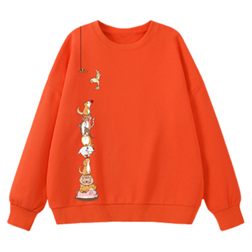 Modakawa Sweatshirt Orange / M Animal Cartoon Print Round Neck Sweatshirt
