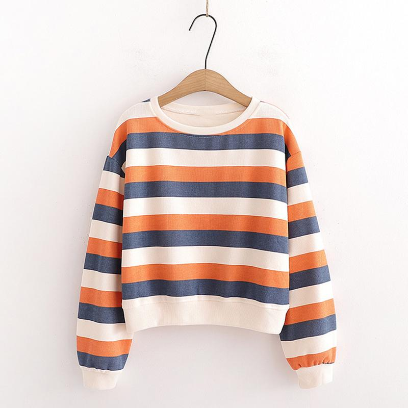 Modakawa Sweatshirt Orange / One Size Candy Color Stripe Short Sweatshirt