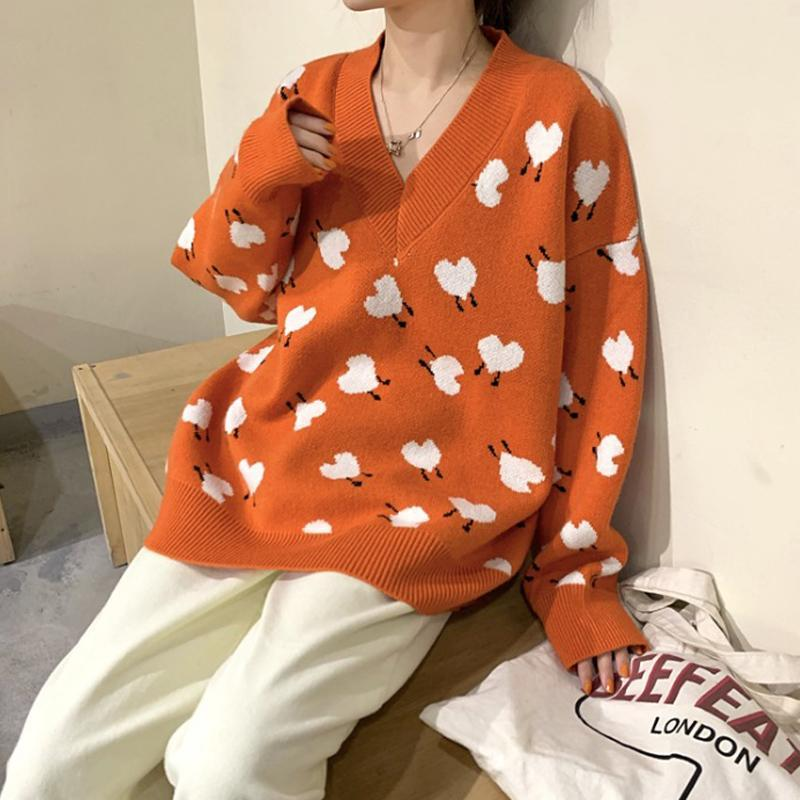 Modakawa Sweatshirt Orange / One Size Love Heart V Neck Sweater