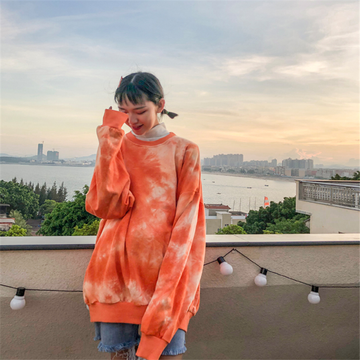 Modakawa Sweatshirt Orange / S Girlfriend Boyfriend Drop Shoulder Tie Dye Sweatshirt
