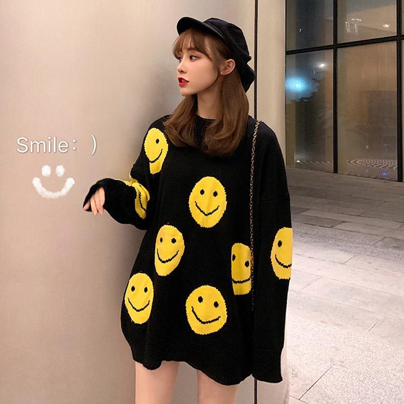 Modakawa Sweatshirt Oversize Cartoon Smiling Face Sweater