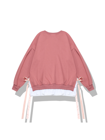 Modakawa Sweatshirt Pink Bow Fake Two-Piece Sweatshirt