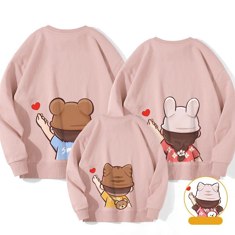 Modakawa Sweatshirt Pink / Boy: 130 Letter Love Heart Print Family Matching Sweatshirts