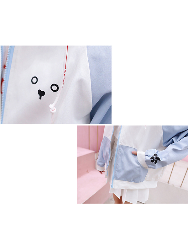 Modakawa Sweatshirt Pink Dog Color-block Hooded Jacket