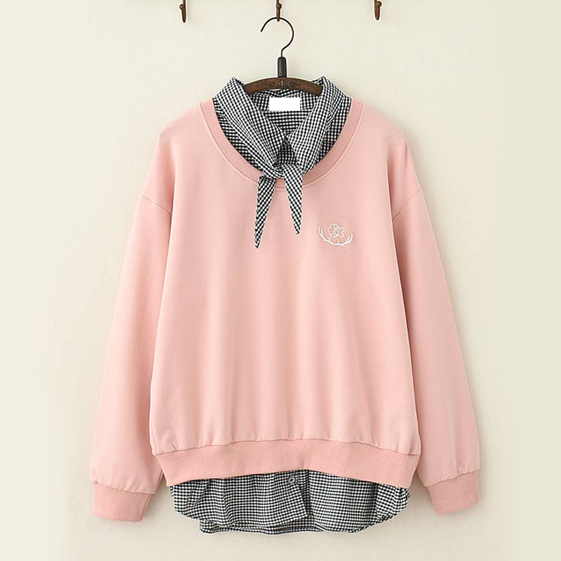 Modakawa Sweatshirt Pink Fish Embroidery Plaid One-Piece Sweatshirt