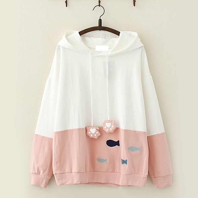 Modakawa Sweatshirt Pink Kawaii Fish Cat Claw Hoodie