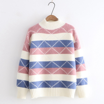 Modakawa Sweatshirt Pink Loose Striped Pullover Sweater