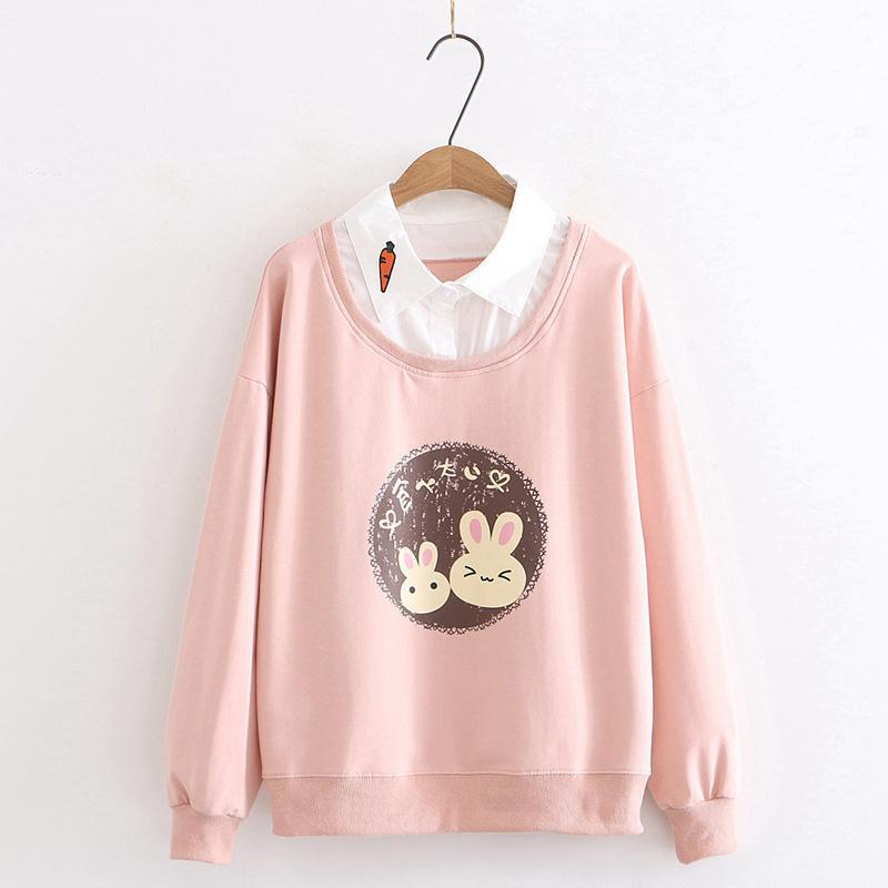 Modakawa Sweatshirt Pink / M Bunny Carrot Fake Two-Piece Shirt Sweatshirt