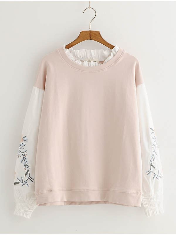 Modakawa Sweatshirt Pink / M Color Block Fake Two-Piece Sweatshirt