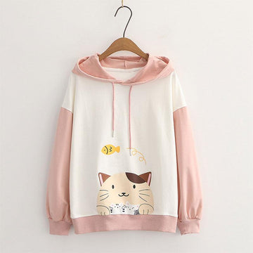 Modakawa Sweatshirt Pink / M Drop Shoulder Cartoon Cat Fish Print Hoodie Sweatshirt