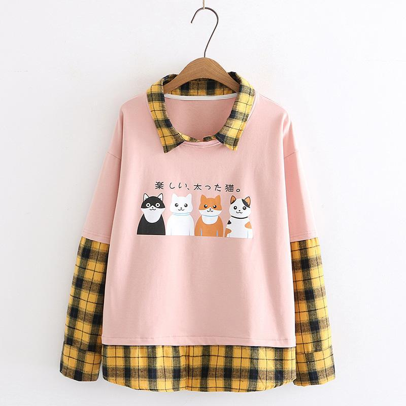Modakawa Sweatshirt Pink / M Japanese Cat Plaid Fake Two-Piece Sweatshirt