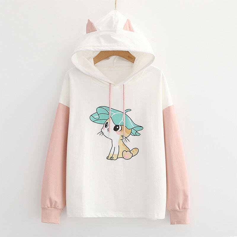Modakawa Sweatshirt Pink / M Kitty Ears Print Color Block Hoodie