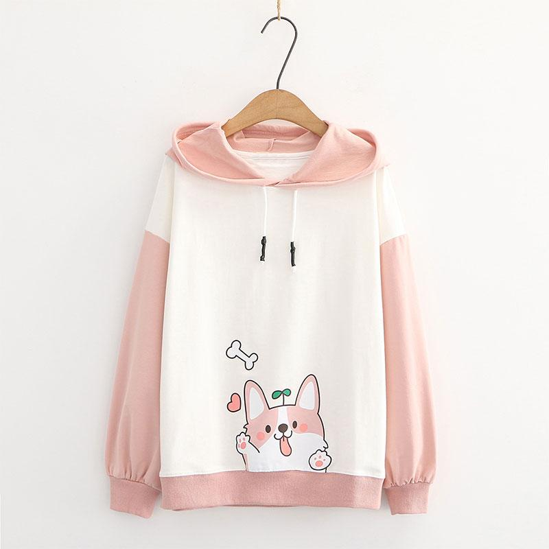 Modakawa Sweatshirt Pink / M Puppy Print Ears Color Block Hoodie