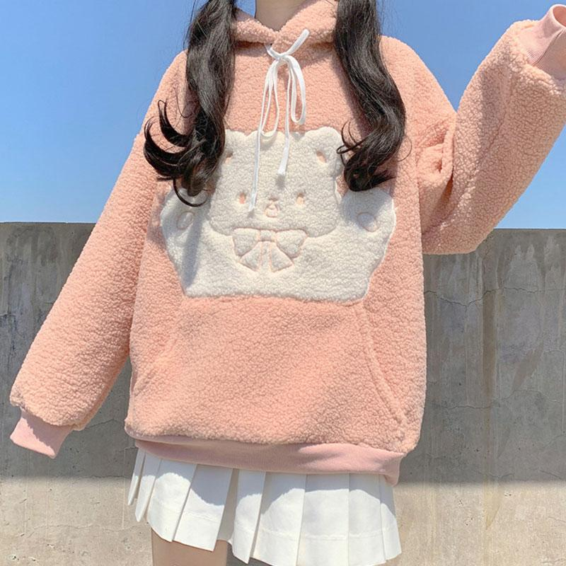 Modakawa Sweatshirt Pink / One Size Bear Bow Pocket Plush Hoodie