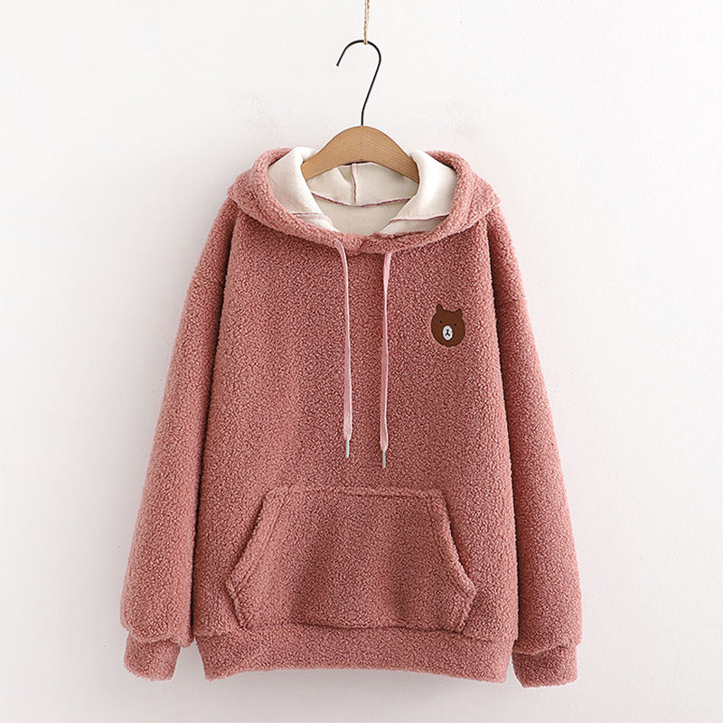 Modakawa Sweatshirt Pink / One Size Bear Embroidery Pocket Plush Hoodie
