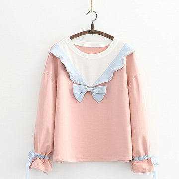 Modakawa Sweatshirt Pink / One Size Bow Ruffle Color Block Drawstring Sweatshirt
