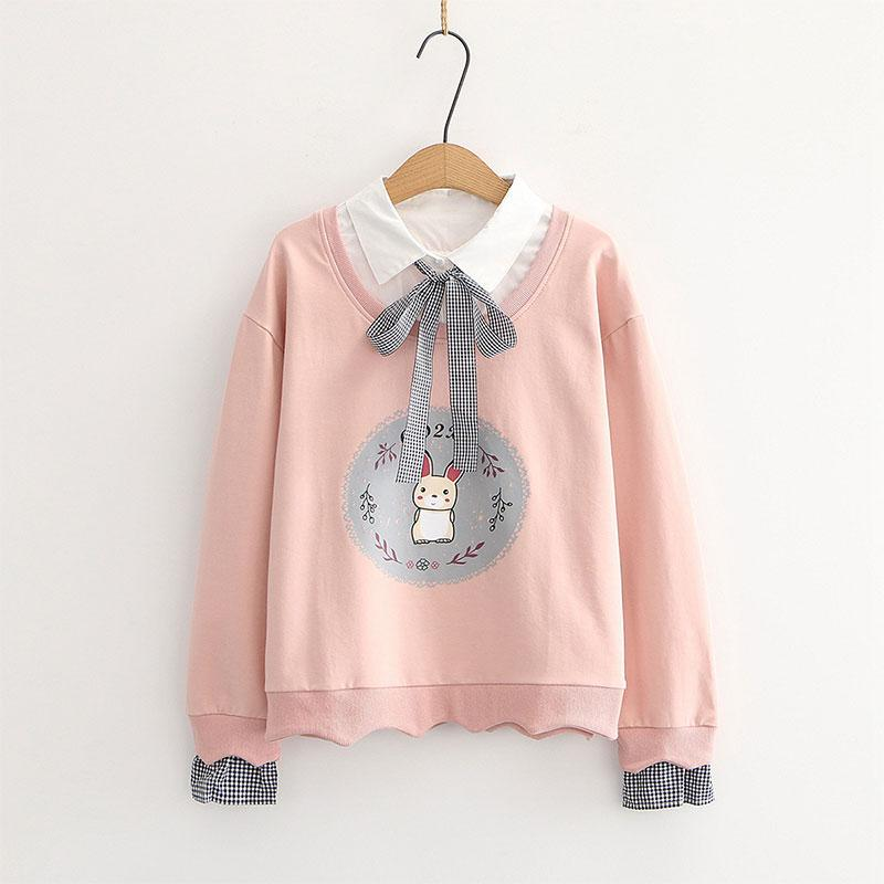 Modakawa Sweatshirt Pink / One Size Bunny Print Bow Tie Shirt Fake Two-Piece Sweatshirt