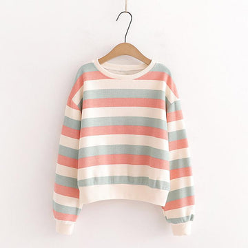 Modakawa Sweatshirt Pink / One Size Candy Color Stripe Short Sweatshirt