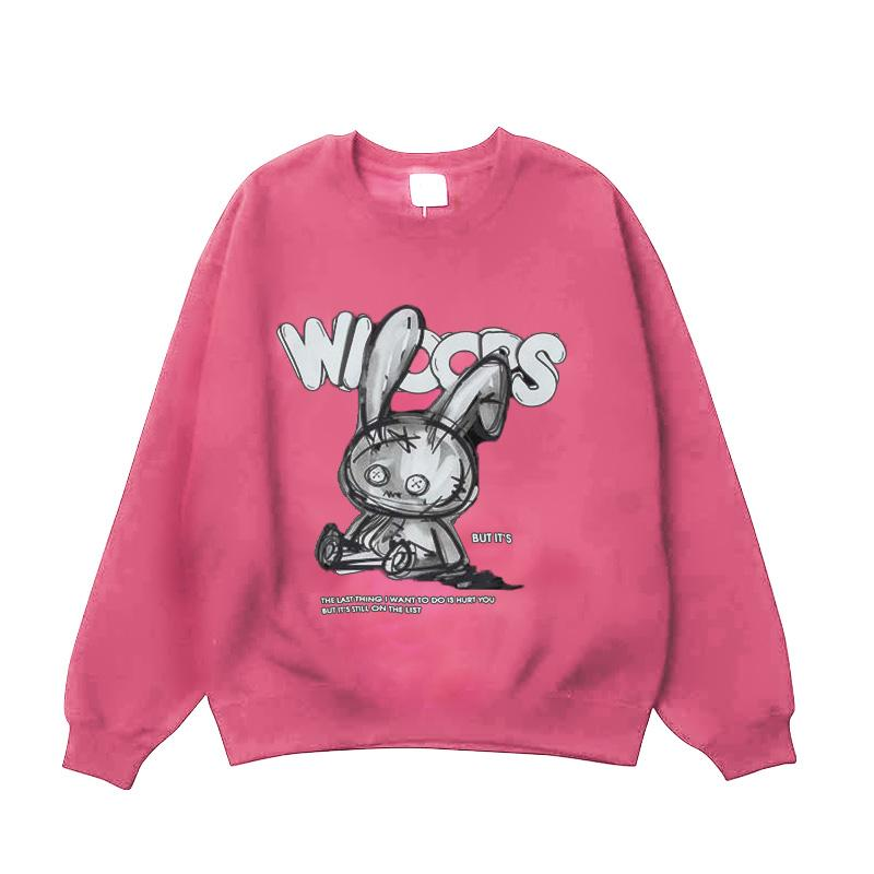 Modakawa Sweatshirt Pink / One Size Cartoon Bunny Print Oversized Sweatshirt
