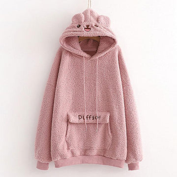 Modakawa Sweatshirt Pink / One Size Cartoon Ears Letter Pocket Plush Hoodie