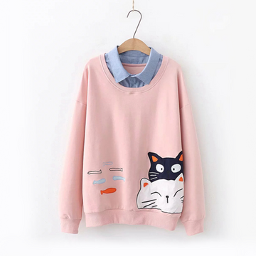Modakawa Sweatshirt Pink / One Size Cat Fish Fake Two-Piece Sweatshirt