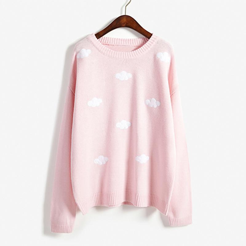 Modakawa Sweatshirt Pink / One Size Cloud Round Neck Sweater