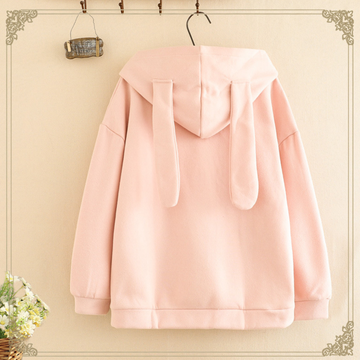 Modakawa Sweatshirt Pink / One Size Cute Carrot Rabbit Ears Cartoon Hoodie