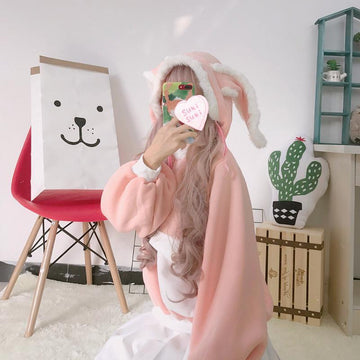Modakawa Sweatshirt Pink / One Size Cute Rabbit Ears Loose Velvet Hoodie