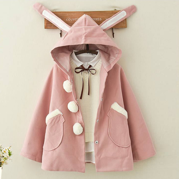 Modakawa Sweatshirt Pink / One Size Kawaii Rabbit Ears Hooded Coat