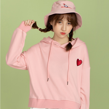 Modakawa Sweatshirt Pink / One Size Love Heart Embroidery Hoodie Sweatshirt